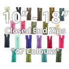 "No.3 CLOSED END 10"" 12"" 14"" 16"" 18"" NYLON ZIPS *47 COLOURS* SEWING ZIPPER REPAIR"