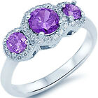 925 Sterling Silver 3 Stone Purple Amethyst & Clear CZ Halo Love Ring Size 3-11