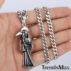 Men Chain Grim Reaper Death Skull CURB 316L Stainless Steel Pendant Necklace NEW