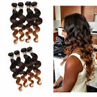1B/4/28# Body Wave 3Bundles 150g Brazilian Real Human Hair Extensions Ombre Weft