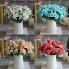 15 Heads Fake Silk Flowers Bouquet Artificial Rose Wedding Floral Decor Plant