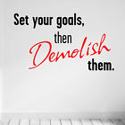 SET YOUR GOALS Motivate Wall Decal Quote Gym Workout Exercise Yoga Fitness Diet