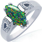 Sterling Silver Solitaire Marquise Dark Green Lab Opal Clear CZ Ring Size 3-11