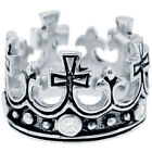 Sterling Silver Princess Fleur De Lis Cross Tiara Crown CZ 13mm Wide Band Ring