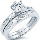 Sterling Silver  Clear CZ Engagement Wedding Love 2 in 1 Band Ring Set Size 3-11