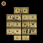 WR 7PCS Gold Dollar Bill Full Set Gold Banknote Colorful USD 1/2/5/10/20/50/100