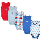 Luvable Friends Boys 5 Pack Blue/Red Sleeveless Bodysuits with Whales & Nautical