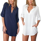 Ladies Casual Long Sleeve V-Neck Loose Chiffon T Shirt Blouse Dress Plus Size
