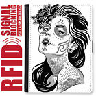 SUGAR SKULL GENUINE LEATHER RFID ANTI THEFT PASSPORT WALLET ORGANIZER COVER