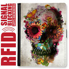 SKULL GENUINE LEATHER RFID ANTI THEFT PASSPORT WALLET ORGANIZER COVER HOLDER