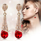 Fashion Womens Rhinestone Long Water Drop Charm Crystal Dangle Stud Earrings New