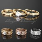 3 IN 1 Vogue Shiny Crystal Decorated Finger Knuckle Bridal Engagement Bling Ring