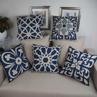 "Paper-cut Navy Pattern 18""x45cm Decor Cotton Linen Cushion cover Pillowcase"