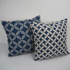 "Navy Printed 003 18""x45cm Decor Cotton Linen Cushion cover Pillowcase"