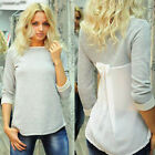 Ladies Womens Autumn Patchwork Long Sleeve Loose T-Shirt Blouse Top Tee