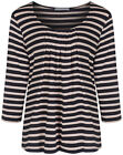 Marks & Spencer Womens Soft New Striped Tops M&S 3/4 Sleeve Pleated T-Shirt Tee