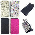 Diamante Jewel Bling Glitter Sparkly Leather Flip Wallet Case Cover For Mobiles