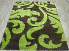 FLORAL SHAGGY RUGS SPECIAL OFFER THICK PILE GREEN BROWN RUNNER SMALL MEDIUM