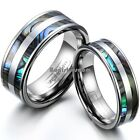 Tungsten Carbide Abalone Shell Stripe Men's Women's Ring Couple's Wedding Band image