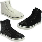 LADIES WOMENS HI HIGH TOP DIAMANTE FLAT PUMPS TRAINERS PLIMSOLLS SHOES UK SIZES