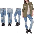Womens Knee Rips Boro Patchwork Distressed Mid Wash Denim Girlfriend Jeans