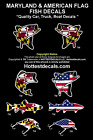 MARYLAND FLAG ROCKFISH DECAL Large Mouth Bass Fish VINYL BOAT STICKER American
