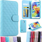 New Quilted Stitched Leather Wallet Cover Case For Samsung Galaxy S5 & S5 Mini