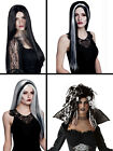 LADIES BLACK WHITE GREY HALLOWEEN WITCH VAMPIRE FANCY DRESS COSTUME WIG NEW