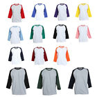 3/4 Sleeve Plain T-Shirts Lot Baseball Tee Raglan Jersey Sports Men's Tee S-XL