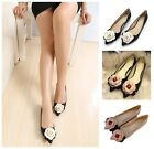 Autumn New Style Women's Flower Decor Pointed-toe Slip on Flat Court Shoes Pumps
