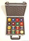 """VARIOUS TYPES OF AMERICAN 2 1/4"""" POOL BALLS SUPPLIED IN A CASE"""