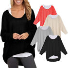 Women's OverSize Long Sleeve Batwing Pullover Casual Loose Blouse Tops & Vest
