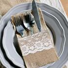 "4""x 9.5"" Hessian Burlap Lace Wedding Cutlery Holder Pouch Rustic Favor Decor"