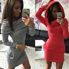 2015Fashion New Warm New Women Casual Long Sleeve Hooded Neck Pure Color Dress