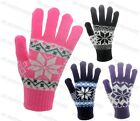 Ladies Womens Fairisle Snowflake Design Gloves Soft Knitted Winter Warm Adults