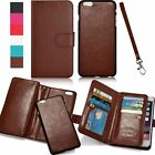 Magnetic 2in1 Luxury Leather Wristlet Card Strap Flip Wallet Phone Case Cover