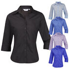 Ladies Womens Blouse Shirt Top 3/4 Length Sleeve Work Office Formal Soft Collar