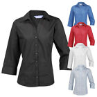 Plain Ladies Womens Blouse Shirt Top 3/4 Sleeve Work Office Formal Open Neck