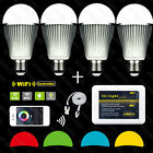 4x Wireless Milight RGBW E27 9W LED BulbLight+WiFi Controller adapter iphone APP