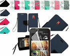Screen Protector+PU Leather Wallet Pouch Case Cover w/Strap For HTC Desire 612