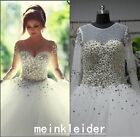 Said Mhamad Luxury Wedding Dress Crystals Pearls Ball Gown Tulle Bridal Gowns