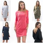Ladies Dress One Size 8/10/12 Women's Open Back Dress 3/4 Sleeves Top Tunic