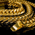 18K Gold Plated CUBAN Miami Chain Link Stainless Steel MEN Womens Necklace 14mm