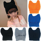 YW Women Winter Beanie Devil Horn Cat Ear Crochet Braided Knit Ski Wool Cap Hat