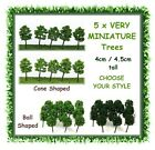 5 x MINIATURE green trees - 4cm tall -CHOOSE YOUR STYLE - fairy garden terrarium