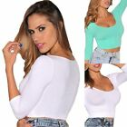 1pc Sexy Womens Ladies 3/4 Sleeve Low Cut T-Shirt Crops Tops Short Blouse Casual