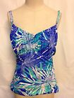 Swim Solutions Printed Underwire Tankini Top 12 Blue  NWT