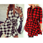 2015 Women's Sexy Plaid Flannel Long Sleeve Waist Shirt Cocktail Dress With Belt