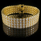 18K Gold Plated 4 Row Prong Set AAA CZ Bling Iced Out Tennis Bracelet