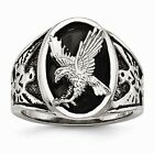 Chisel Stainless Steel Polished Enameled Eagle Ring